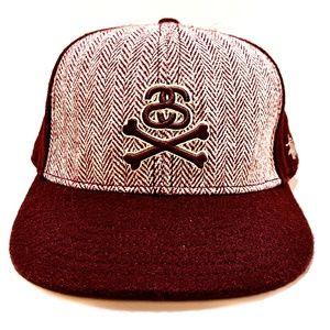 STUSSY wool blend Crossbone Snapback Hat 04'
